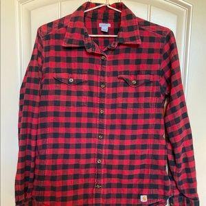 Carhartt Red Plaid Flannel Shirt Size Medium